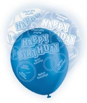 Blue Glitz Happy Birthday Latex Balloons (6)